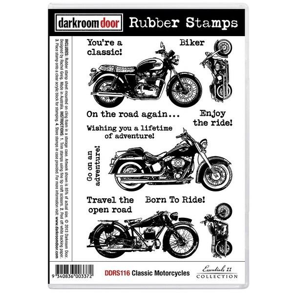 """Darkroom Door Cling Stamps 7""""X5""""-Classic Motorcycle"""