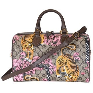 "Gucci Women's 409527 GG Supreme Bengal Tiger Convertible Boston Bag Purse - Multi - 14"" x 9"" x 7"""