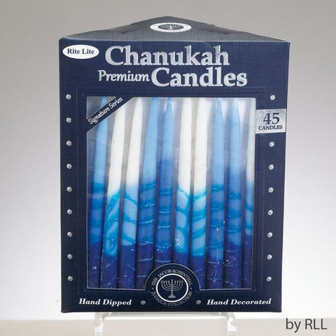"""Club Pack of 45 Blue and White Chanukah Premium Hand Dipped Candles 5"""" - N/A"""