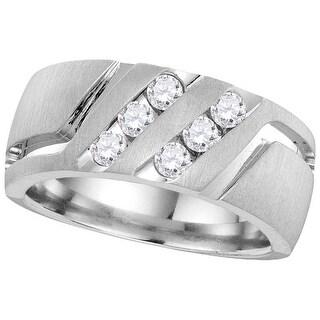 14kt White Gold Mens Round Natural Diamond Band Wedding Anniversary Ring 1/2 Cttw