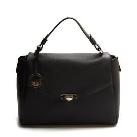 Versace Women Leather Satchel Handbag Vitello Stampa Alce Black - S
