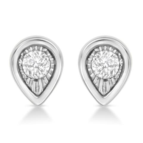.925 Sterling Silver 1/10 Cttw Miracle-Set Round Cut Diamond Pear Shape Stud Earrings (I-J Color, I2-I3 Clarity)