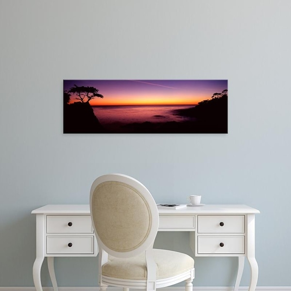 Easy Art Prints Panoramic Images's 'Silhouette of lone cypress tree on a cliff, 17
