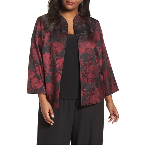 Alex Evenings Red Womens Size 3X Floral Jacquard Jacket Twinset