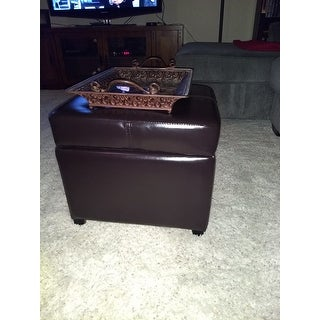 Brown Bi-cast Leather Storage Ottoman