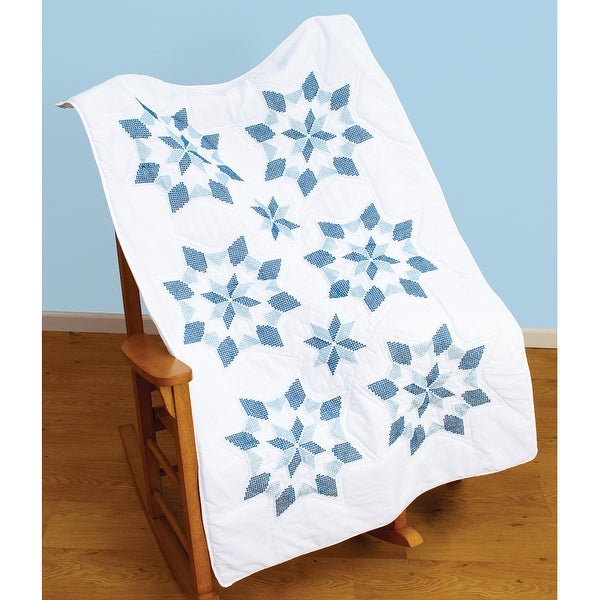 """Stamped White Lap Quilt Top 40""""X60""""-XX Star"""