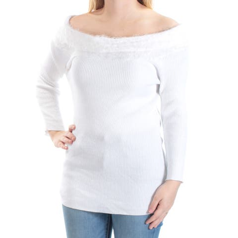 NY COLLECTION Womens White Eyelash Material Long Sleeve Off Shoulder Sweater Size: S