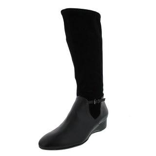 Taryn Rose Womens Fuller Riding Boots Suede Wedge - 6.5 medium (b,m)