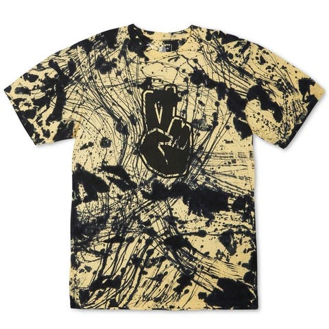 Neff Mens T-Shirt Black Yellow Size Large L Batik Tie Dye Graphic Tee