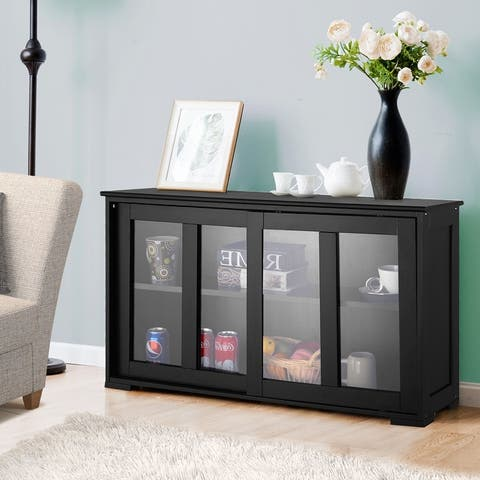Wooden Buffet Cupboard Kitchen Storage Sideboard Sliding Door Black