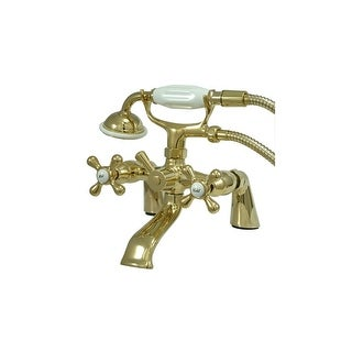 "Elements Of Design ES2672X Triple Handle 6"" Center Deck Mounted Clawfoot Tub Filler Faucet with Meta"