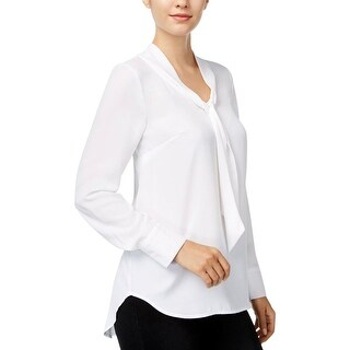 Kensie Womens Blouse Crepe Bow-Front