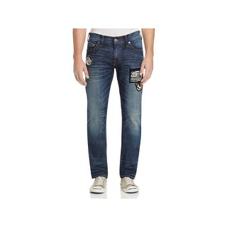 True Religion Mens Geno Slim Jeans Relaxed Patched - 32