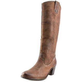 Frye Jackie Button Women Round Toe Leather Brown Knee High Boot