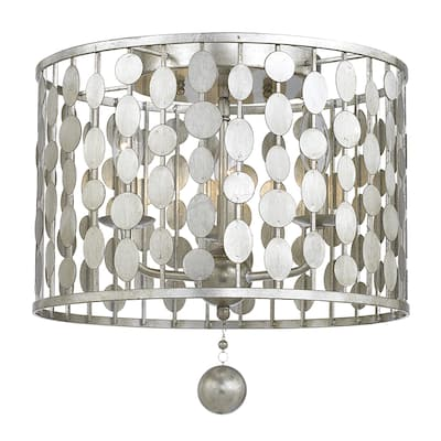 Layla 3-light Antique Silvertone Ceiling-mount Light Fixture - 15'' W x 13.78'' H