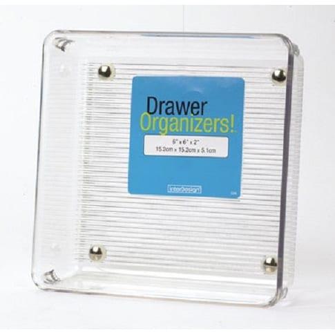 """InterDesign 52630 Linus Drawer Organizer, 6"""" x 6"""" x 2"""", Clear"""