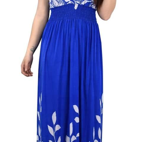Gypsy Floral Rose Print Sleeveless Elastic Waist Boho Maxi Dress