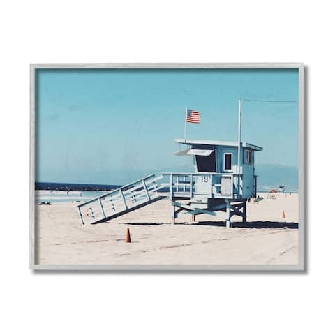 Stupell Industries Blue Lifeguard Stand at Coastline American Flag Framed Wall Art