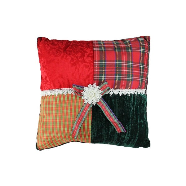"15.5"" Square Textured Tartan Plaid Velvet Decorative Christmas Throw Pillow - RED"