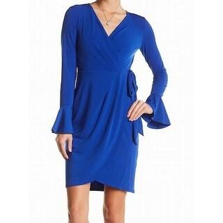 London Times NEW Blue Pleated Surplice Bell-Sleeve Faux-Wrap 6 Dress