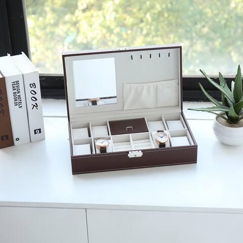 8-Slots Watch Box Organizer Storage Case with Lock and Mirror