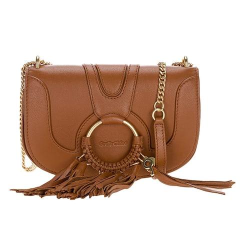 See by Chloe Womens Hana Caramello Evening Handbag Crossbody with Tassel Trim