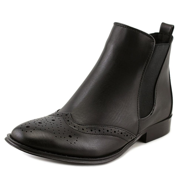 Wanted Saba Women Round Toe Leather Black Bootie