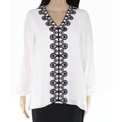 Alfani Womens Blouse Medium Crochet Lace Front V-Neck