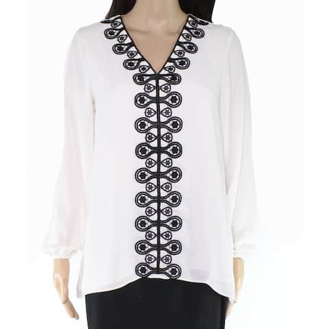 Alfani Womens Blouse White Ivory Size Small S Crochet Lace Front V-Neck