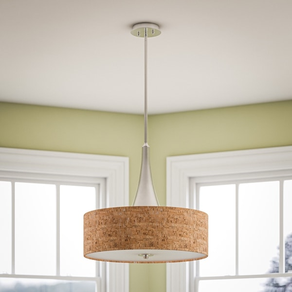 Strick & Bolton Laurindo 22-inch Brushed Nickel/ Cork Pendant. Opens flyout.