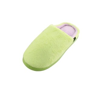 Family Coral Fleece Lady Feet Warm Soft Indoor Winter Slippers Green Pair US 8.5