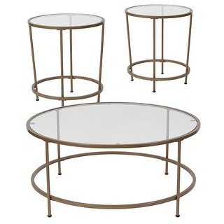 Offex Astoria Collection 3 Piece Coffee and End Table Set with Glass Top and Matte Gold Frame