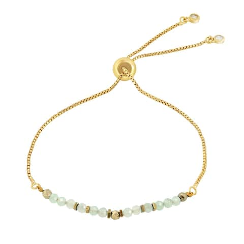 Handmade Radiant Facets Beads on Gold-Plated Brass Pull-String Bracelet (Thailand)