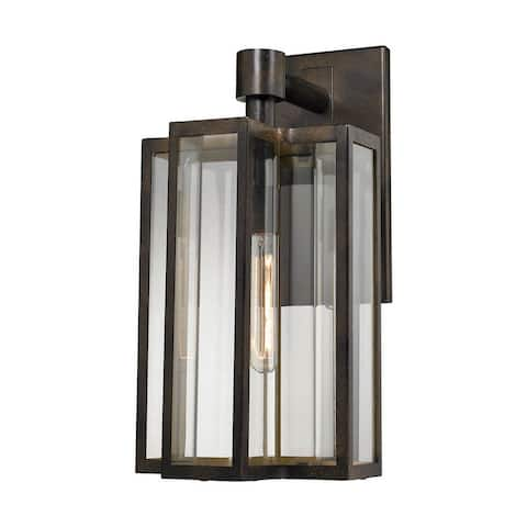 One Light Geometric Outdoor Wall Mount with Curved Seeded Glass and Slender Lines and Exposed Bulb