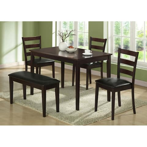 Offex Cappuccino 5 Pieces Dining Set w/ A Bench & 3 Side Chairs