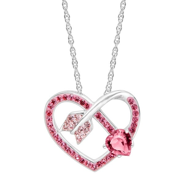 Crystaluxe Arrow Heart Pendant with Pink & Rose Swarovski elements Crystals in Sterling Silver