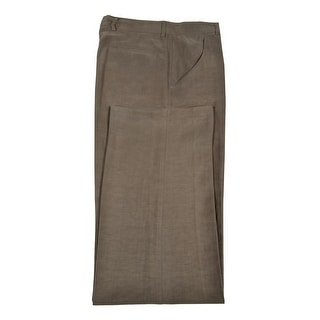 Armani Collezioni Silk and Linen Brown Flat Front Hemmed Dress Pants 32 Long