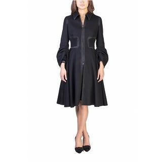 Prada Women's Wool Nylon Blend Vintage Trench Coat Black - 6