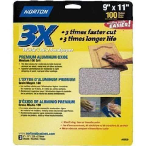 "Norton 02620 3X Sandsheet 9""x11"", 100 Grit"