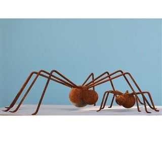 "Garden Spiders - Rusted Metal Garden Decor - Large - 17"" X 4.5"" X 10"""