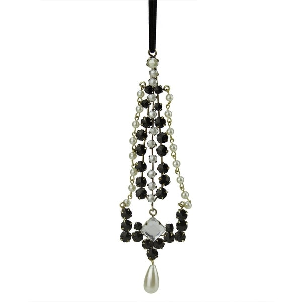 "7"" Elegant White, Black and Gold Faux Gem and Pearl Decorative Dangle Christmas Ornament"