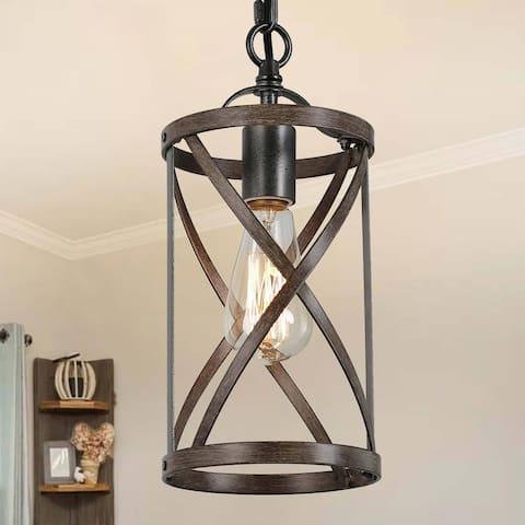 "Modern Farmhouse 1-Light Faux Wood Chandelier Cage Pendant Lights for Kitchen - 6"" D x 13"" H"