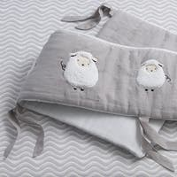 Lambs & Ivy Signature Goodnight Sheep Gray/White Linen 4-Piece Baby Crib Bumper