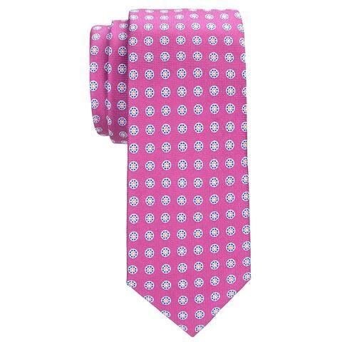 09ca4b43eafe Tommy Hilfiger Mens Timing Sprocket Silk Tie Pink Medallions Necktie