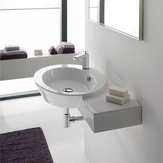 "Nameeks 2011  Scarabeo 34-3/8"" Ceramic Wall Mounted / Vessel Bathroom Sink with 1 Hole Drilled - White / One Hole"