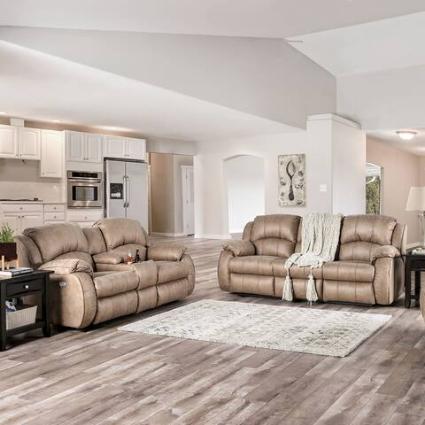 Furniture of America Xade Transitional Recliner 2-piece Living Room Set