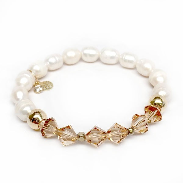 "Freshwater Pearl & Gold Crystal Chloe 7"" Bracelet"