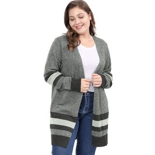 Women's Plus Size Striped Open Front Sweater Cardigan - Black