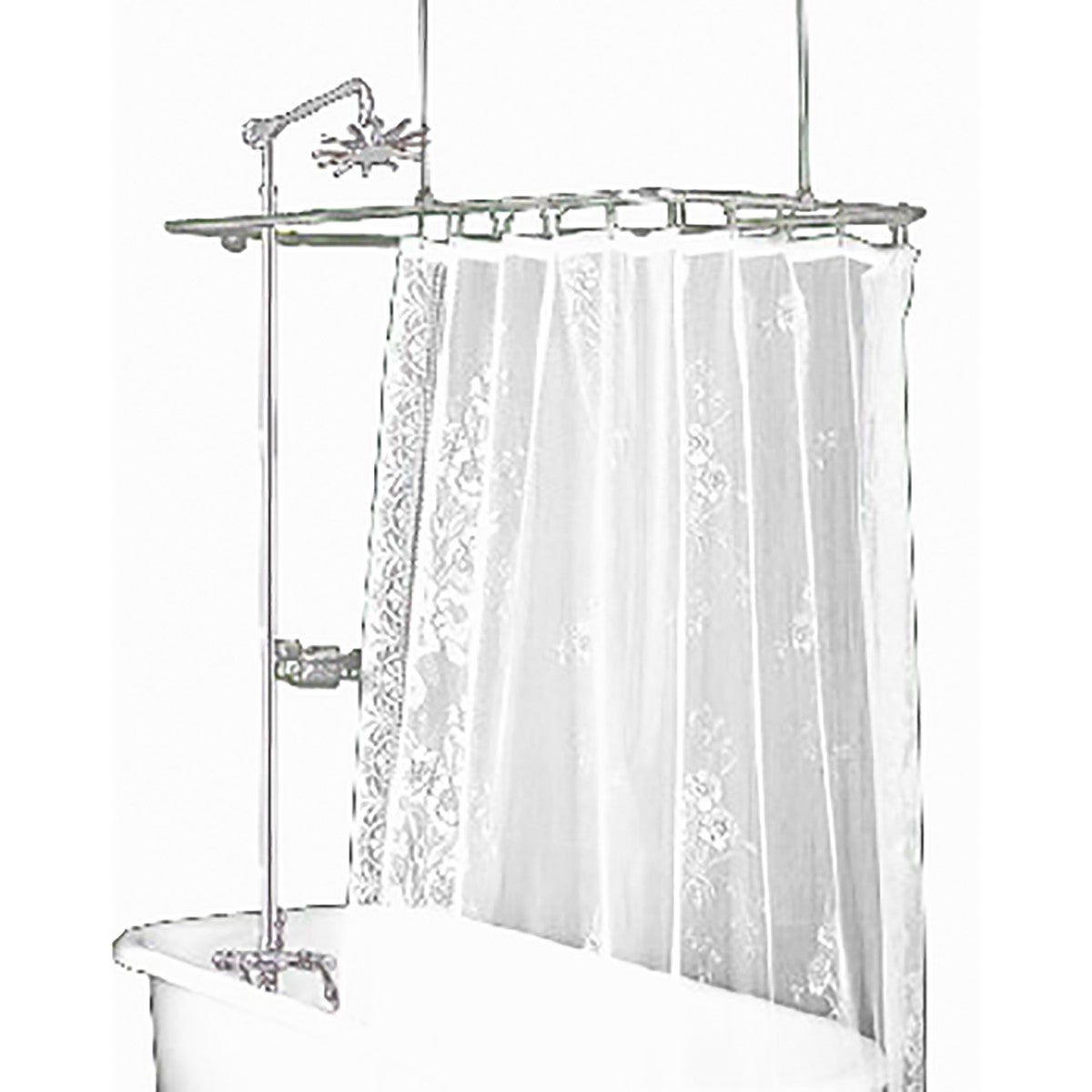 Clawfoot Tub Shower Surround Brass Rectangula Renovator S Supply
