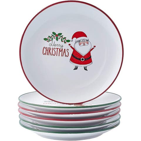 "SET OF 6 Christmas theme 8"" holiday-Inspired Ceramic Dinner Plates Gift Set - SET OF 6 Christmas theme"